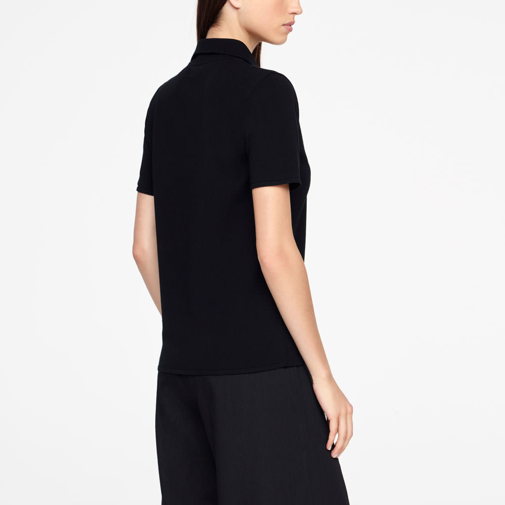 Sarah Pacini POLO SWEATER - ZIPPER Back view