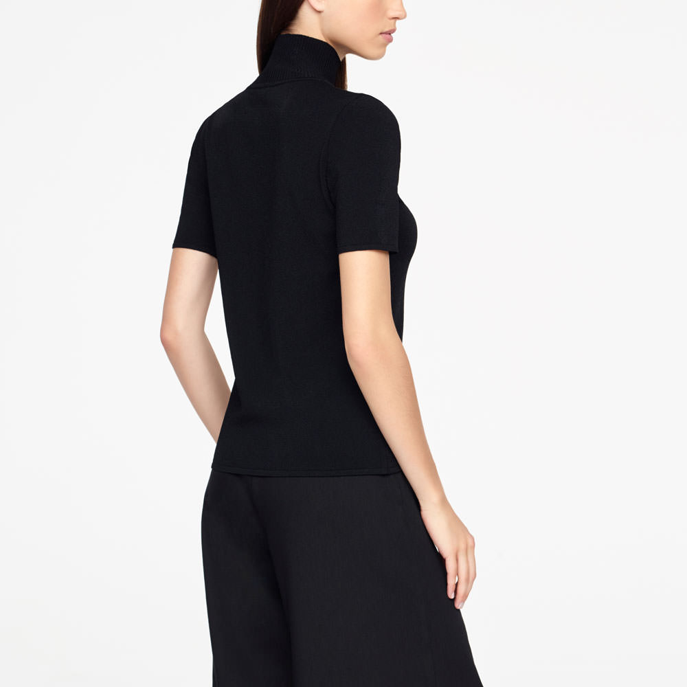 Sarah Pacini SWEATER - RIBBED MOCK NECK Back view
