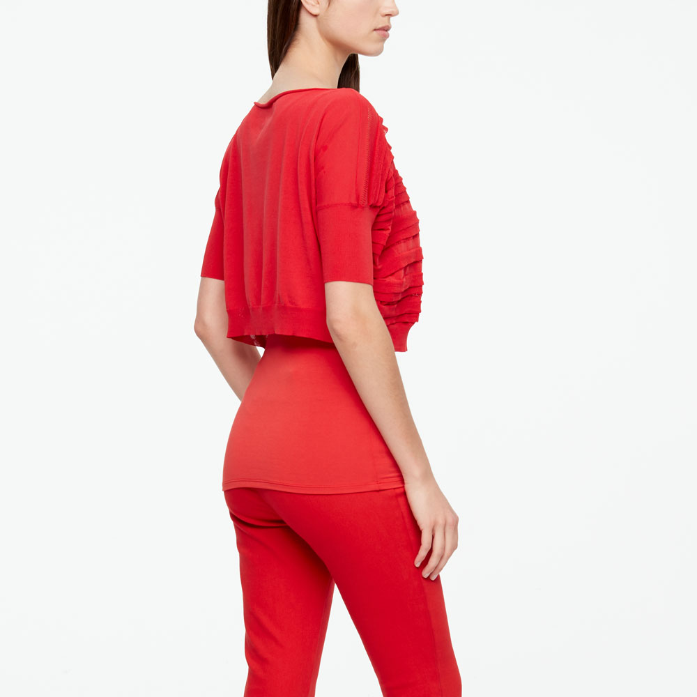 Sarah Pacini MAKO COTTON SWEATER - STRIPES Back view