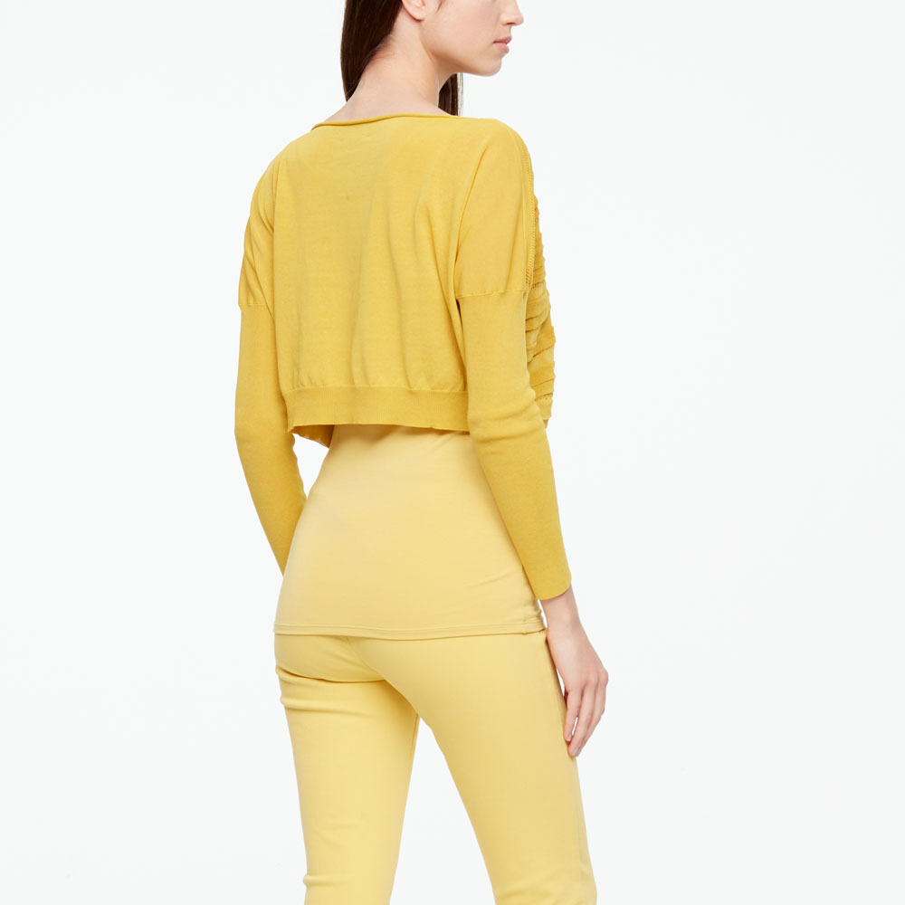 Sarah Pacini MAKO COTTON SWEATER - CROPPED Back view