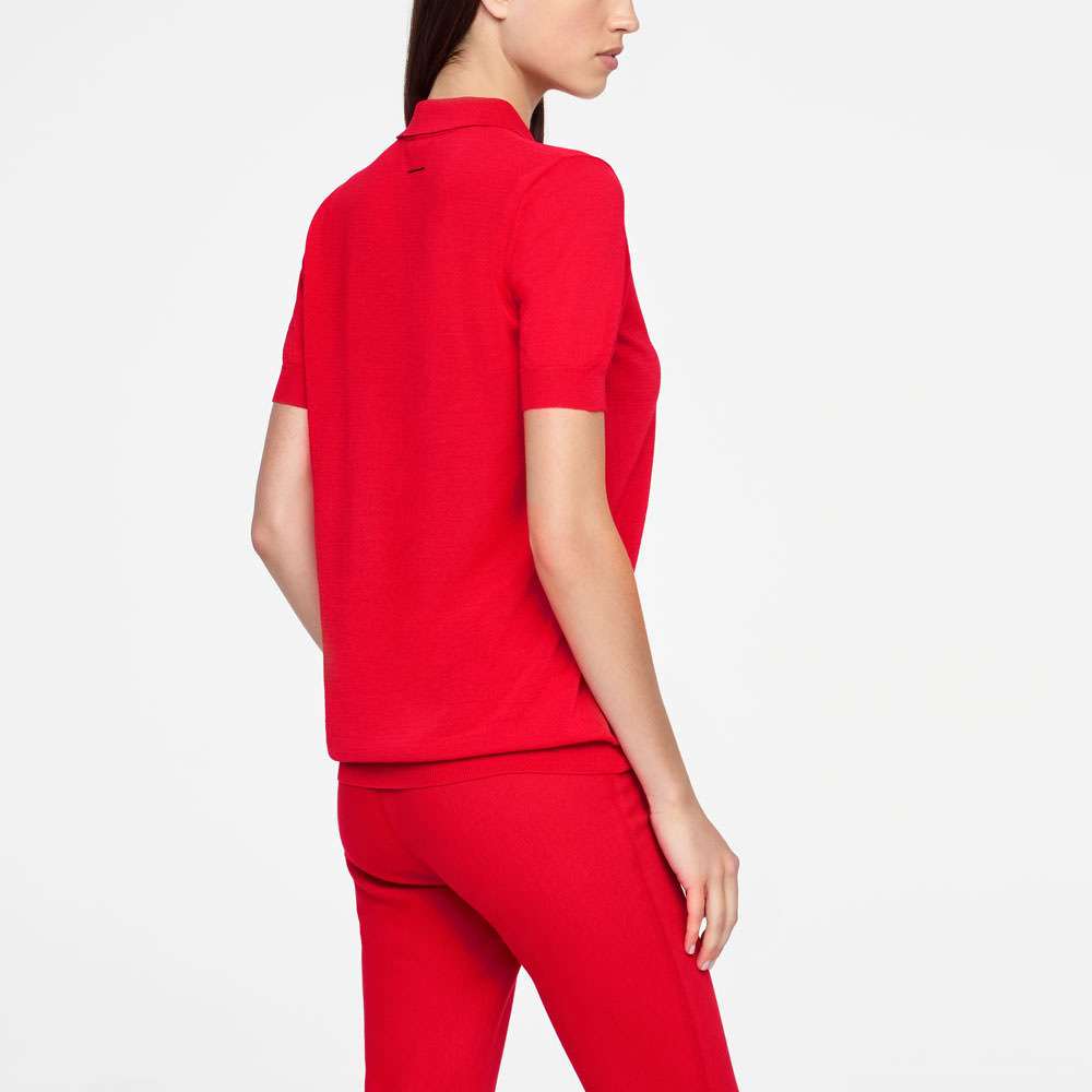 Sarah Pacini POLO SWEATER - MAKO COTTON Back view