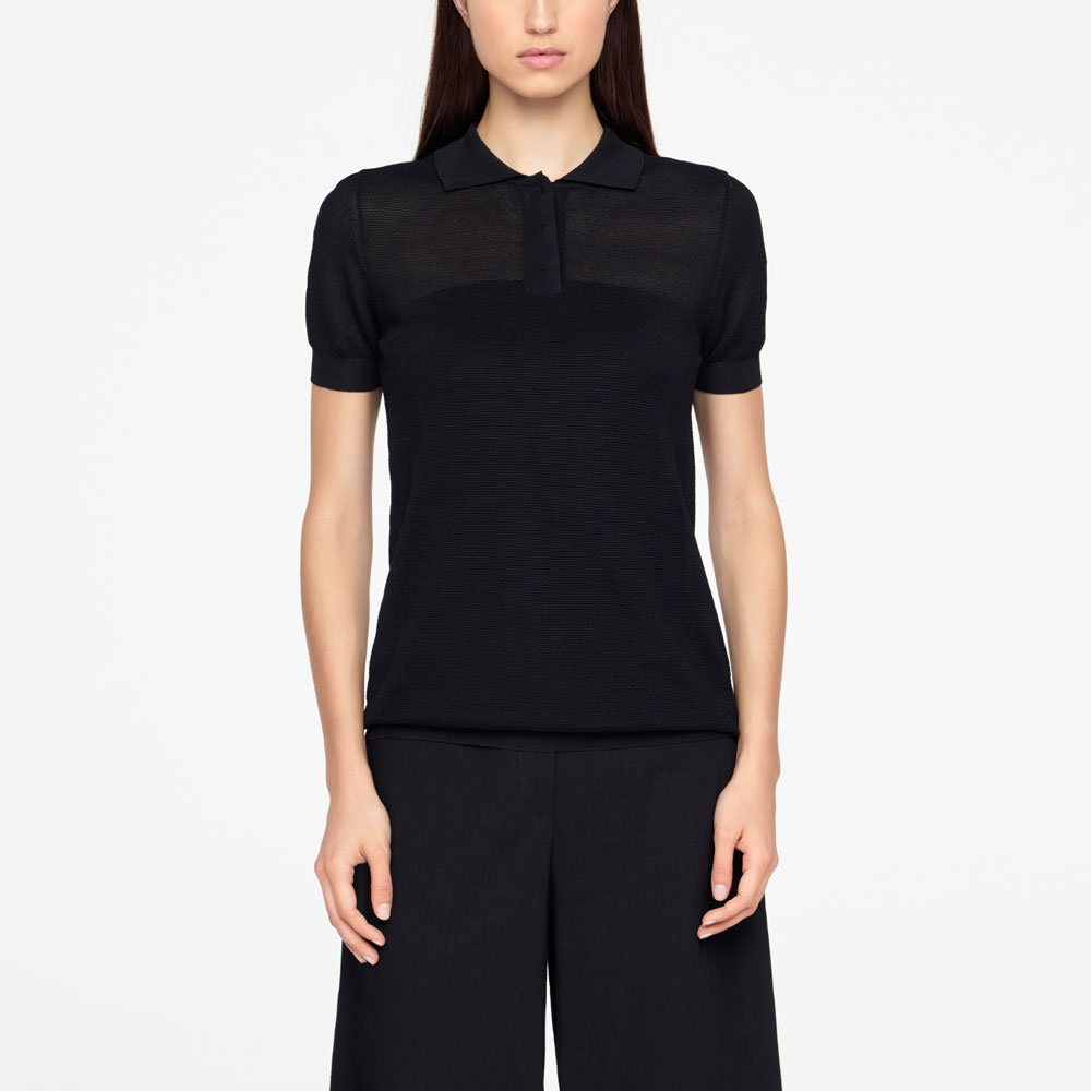 Sarah Pacini POLO SWEATER - TEXTURED Front