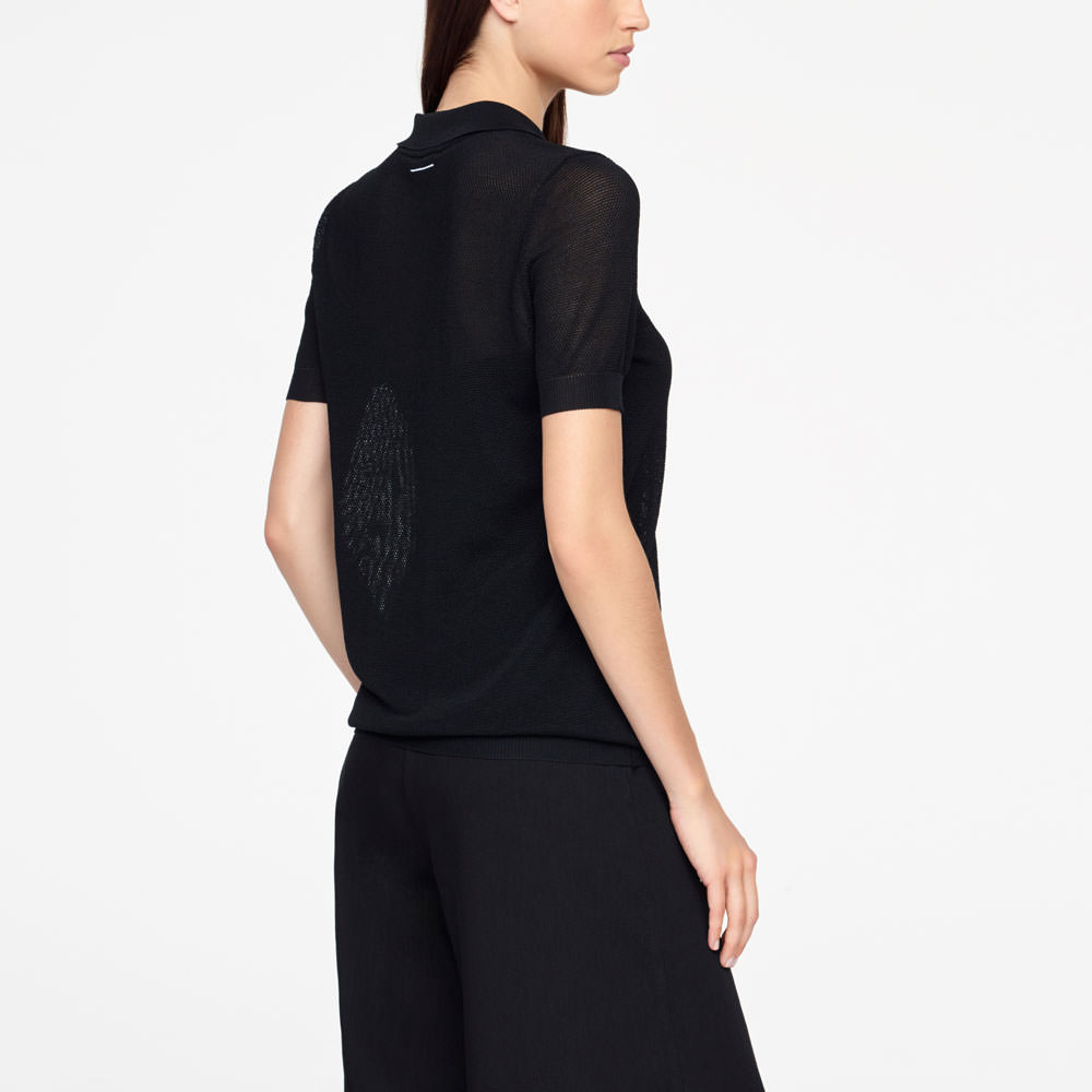 Sarah Pacini POLO SWEATER - TEXTURED Back view