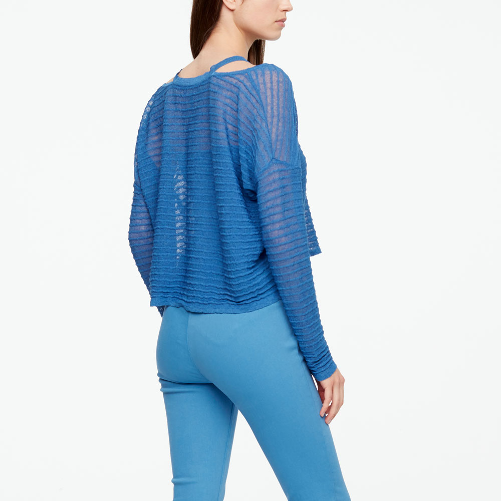 Sarah Pacini LINEN SWEATER - RELIEF Back view