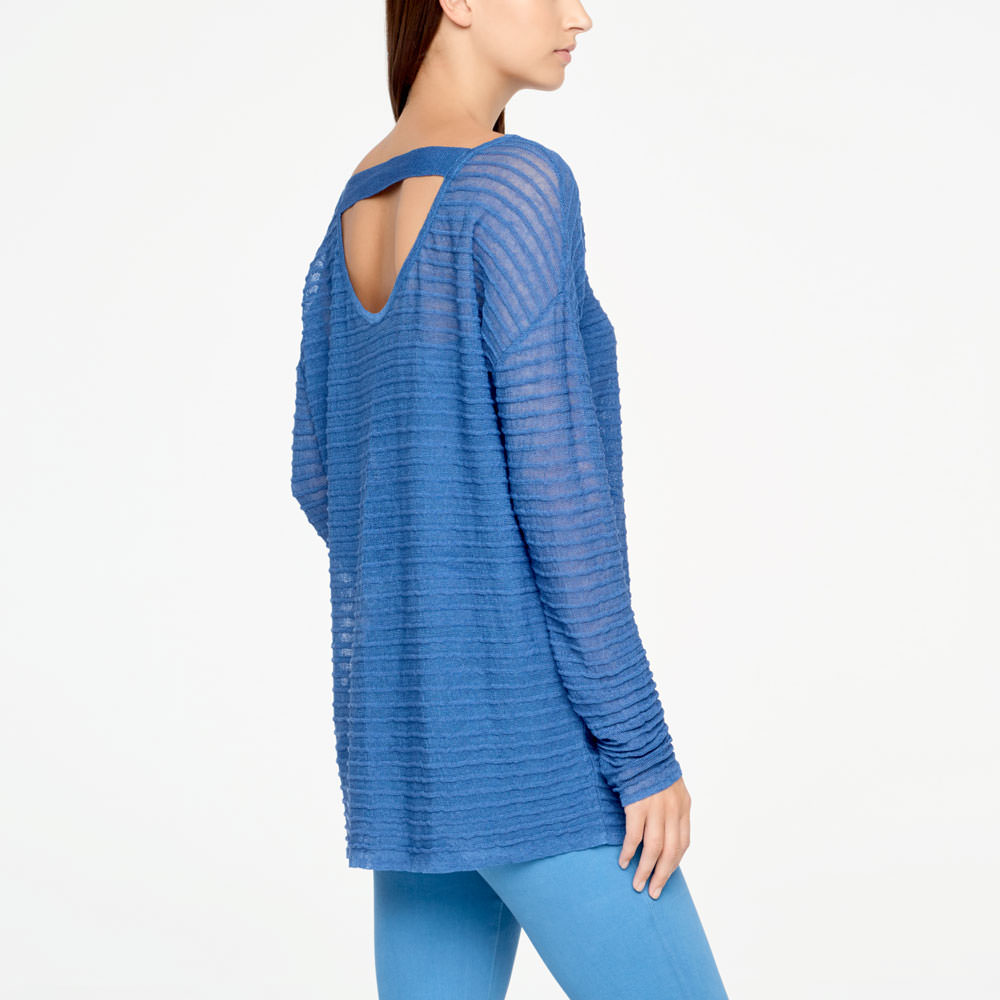 Sarah Pacini LONG LINEN SWEATER - RELIEF Back view