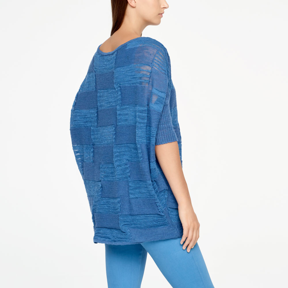 Sarah Pacini LINEN SWEATER - HALF SLEEVES Back view
