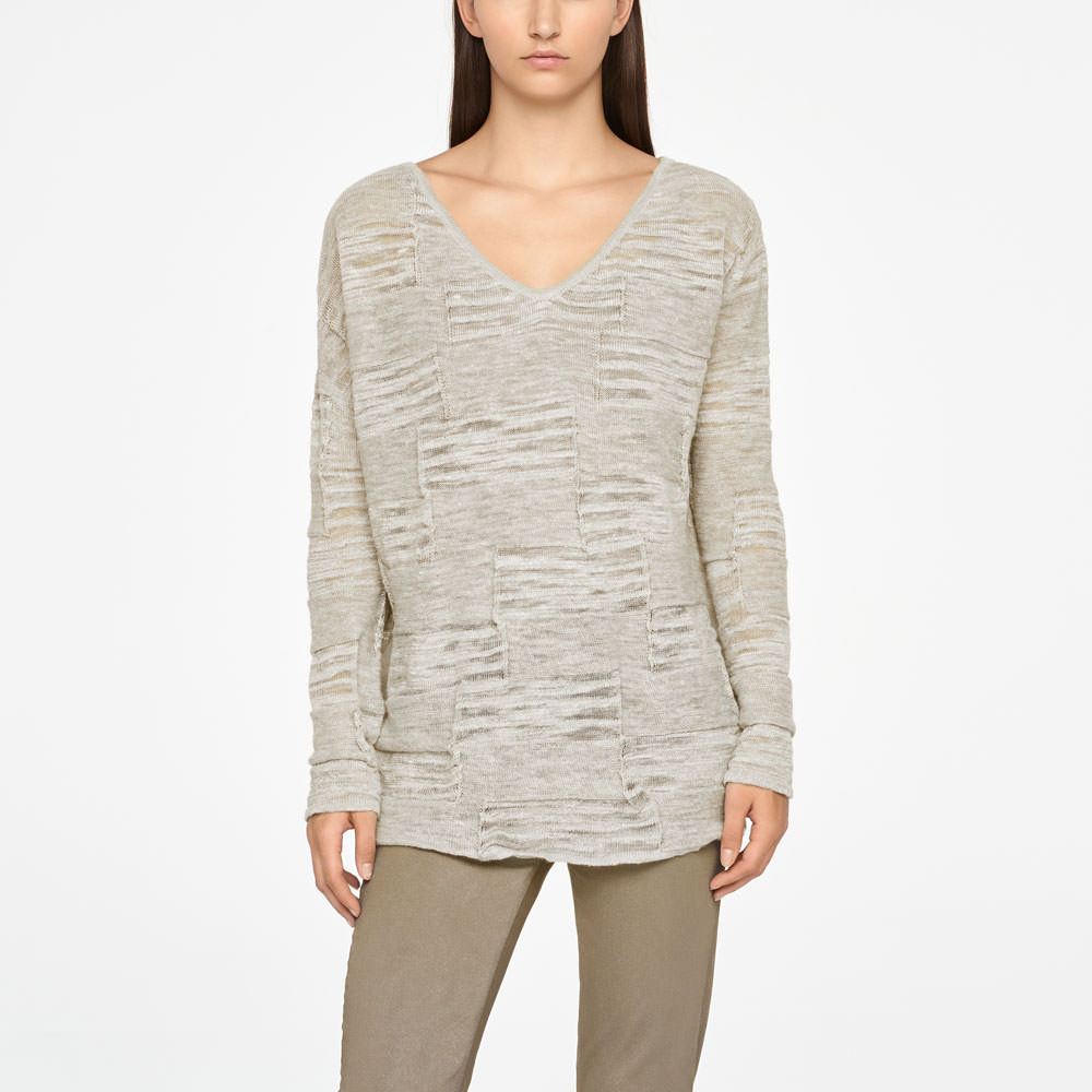 Sarah Pacini LINEN SWEATER - FULL SLEEVES Front