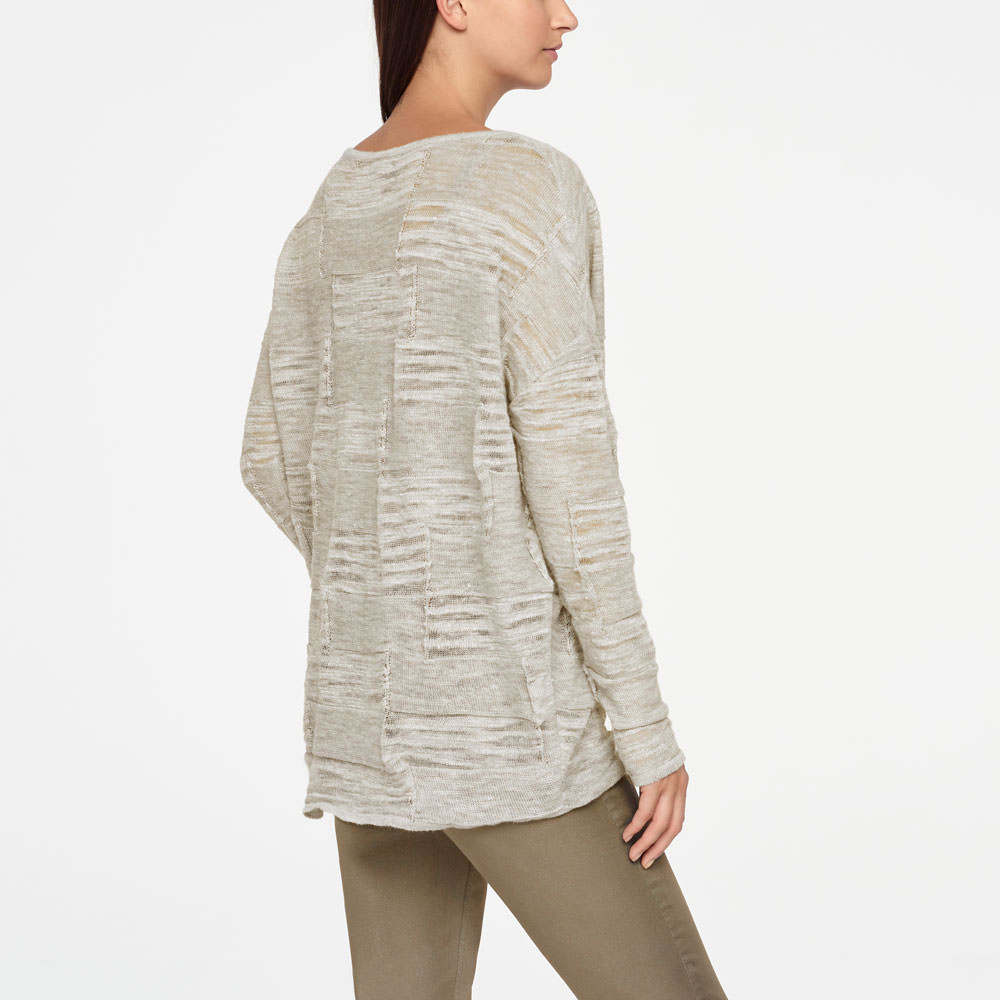 Sarah Pacini LINEN SWEATER - FULL SLEEVES Back view
