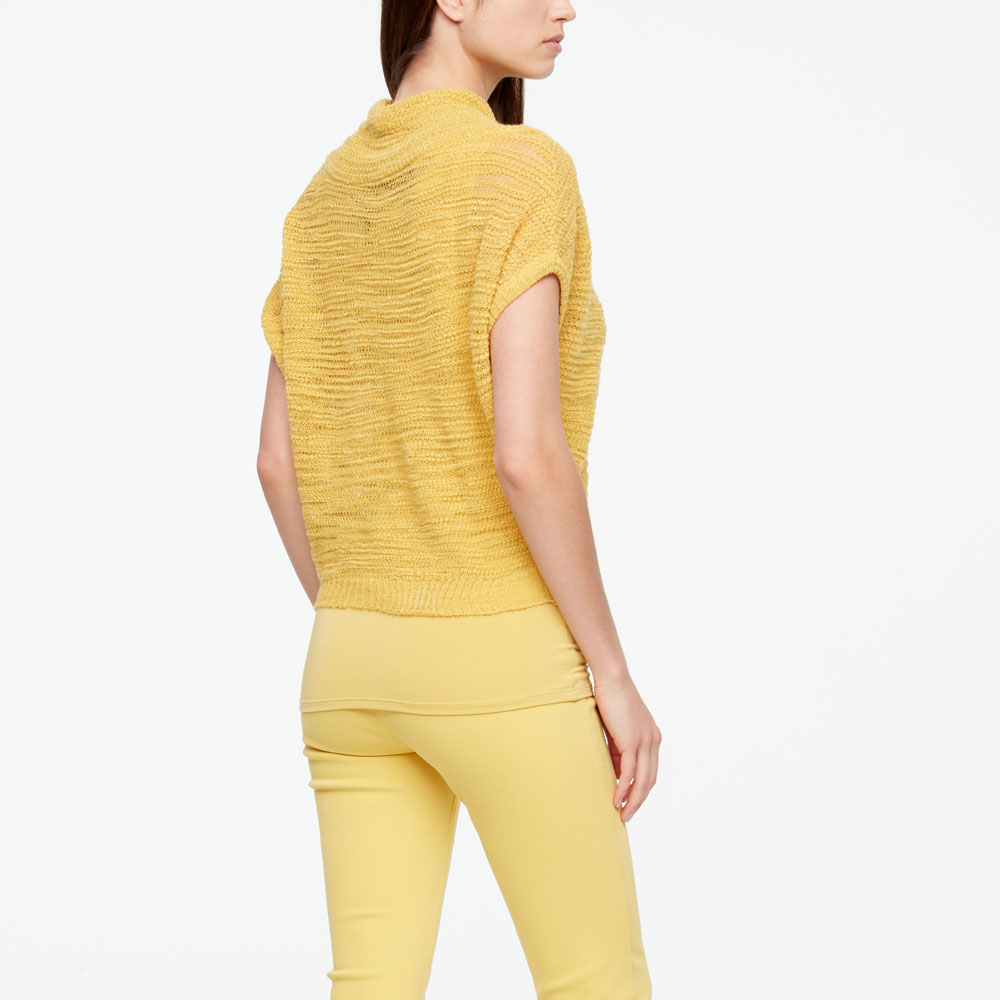 Sarah Pacini OPENWORK SWEATER - SHORT SLEEVES Back view