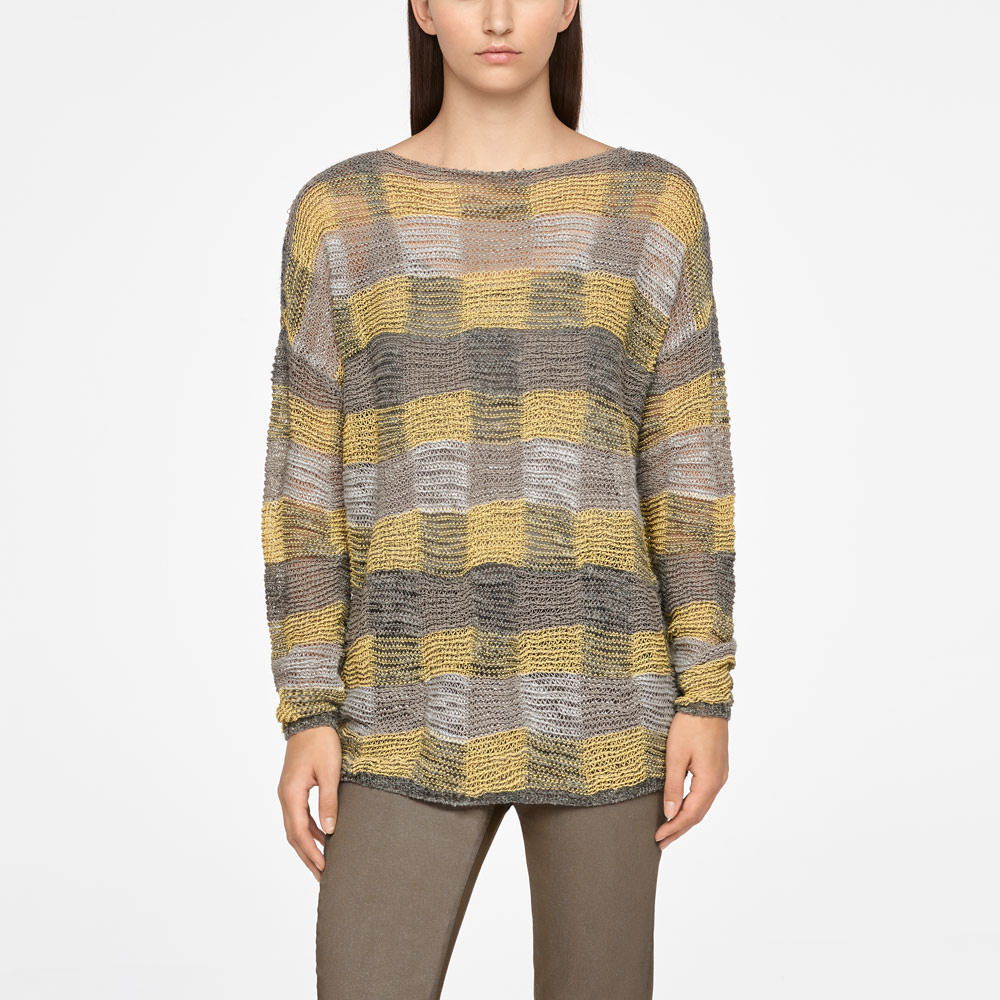 Sarah Pacini LONG LINEN SWEATER - CHECKERED Front