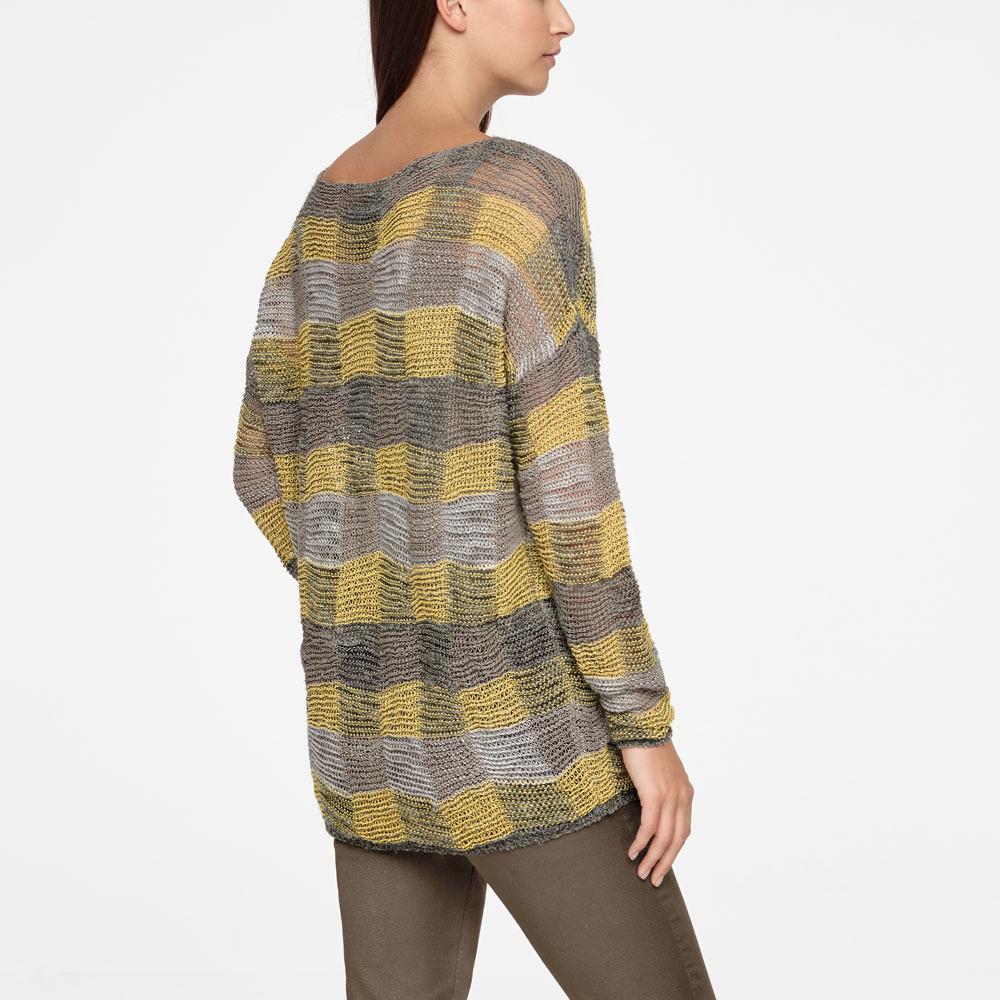 Sarah Pacini LONG LINEN SWEATER - CHECKERED Back view