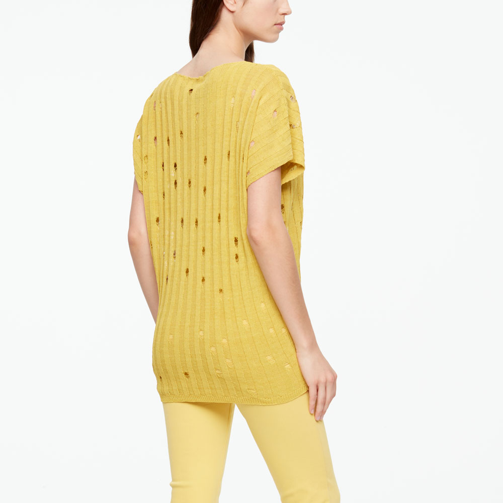 Sarah Pacini LINEN SWEATER - V-NECK Back view