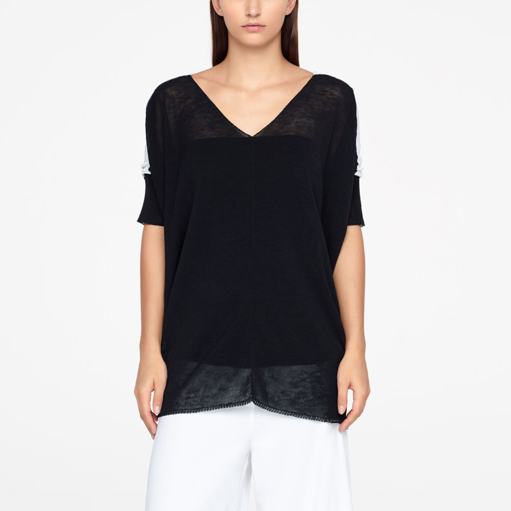 Sarah Pacini LINEN SWEATER - LOW BACK Front