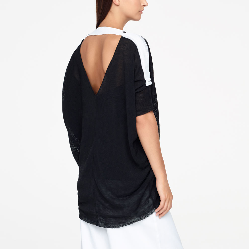Sarah Pacini LINEN SWEATER - LOW BACK Back view