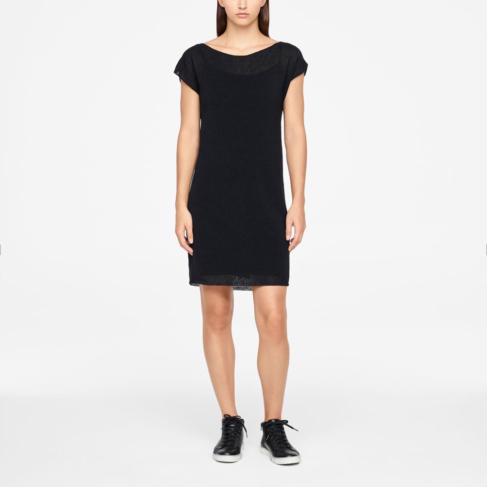 Sarah Pacini LINEN DRESS - CAP SLEEVES Front