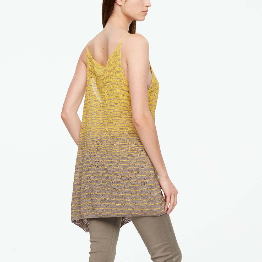 Sarah Pacini LINEN SWEATER - SIDE SLIT Back view