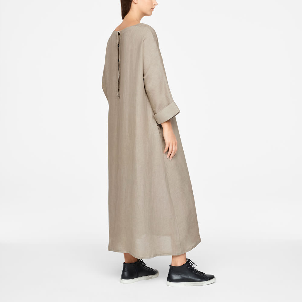 Sarah Pacini LIGHT LINEN DRESS Back view