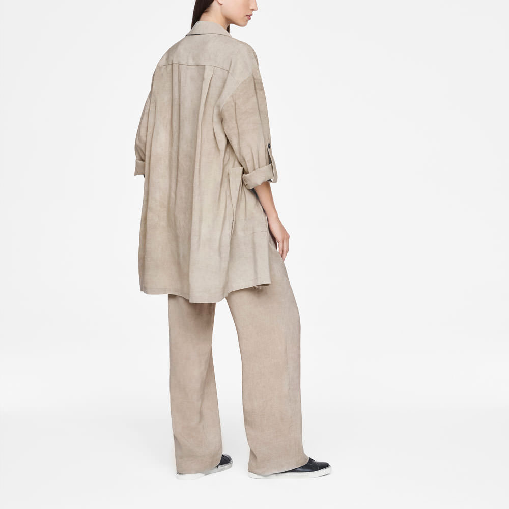 Sarah Pacini LINEN JACKET - PATCH POCKETS Back view