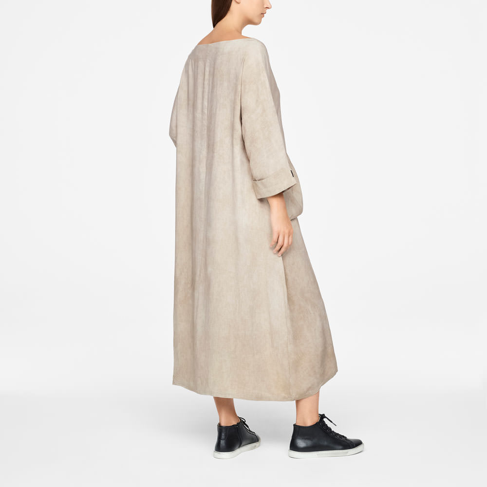Sarah Pacini LINEN DRESS - MAXI Back view