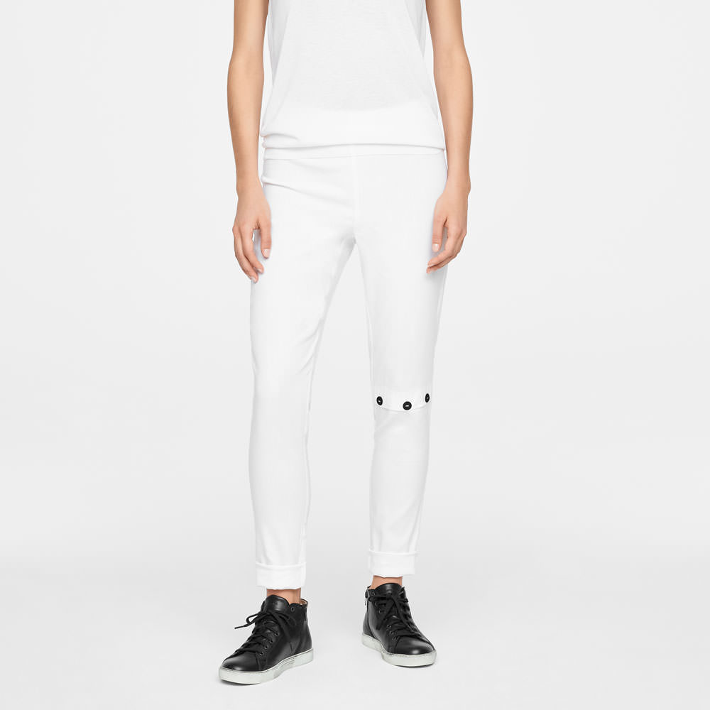 Sarah Pacini LINEN LEGGINGS - KNEE SLIT Front