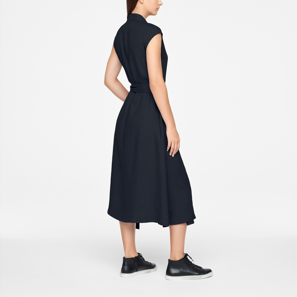 Sarah Pacini LINEN WRAP DRESS - MAXI Back view