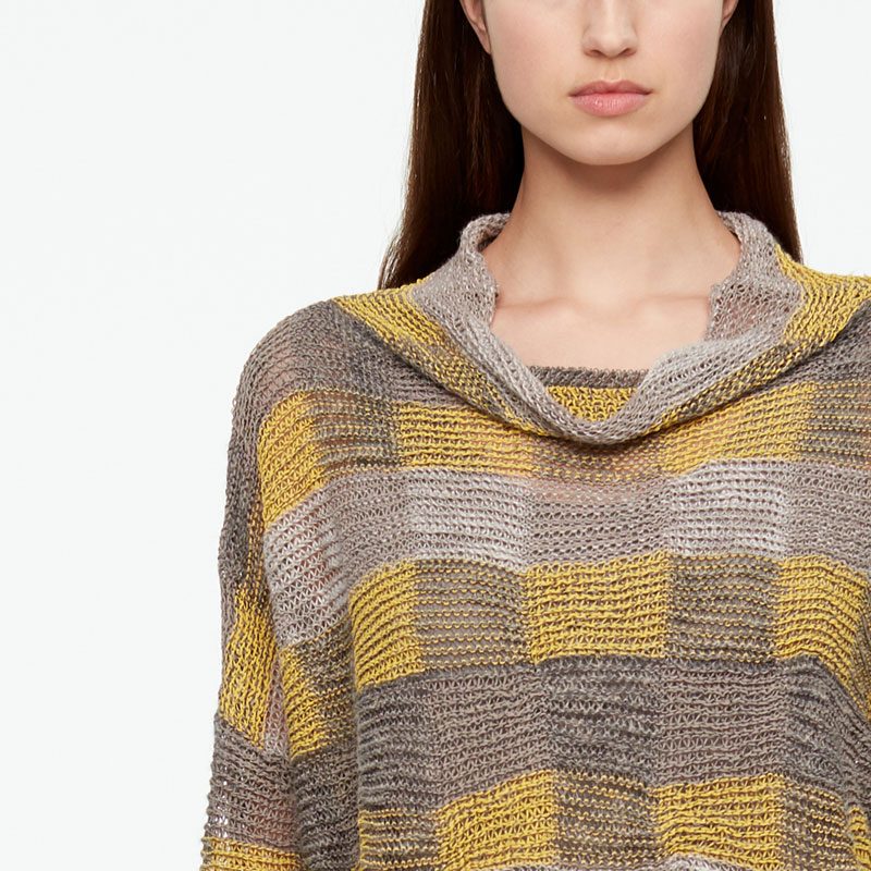 Sarah Pacini LINEN SWEATER - CHECKERS Front