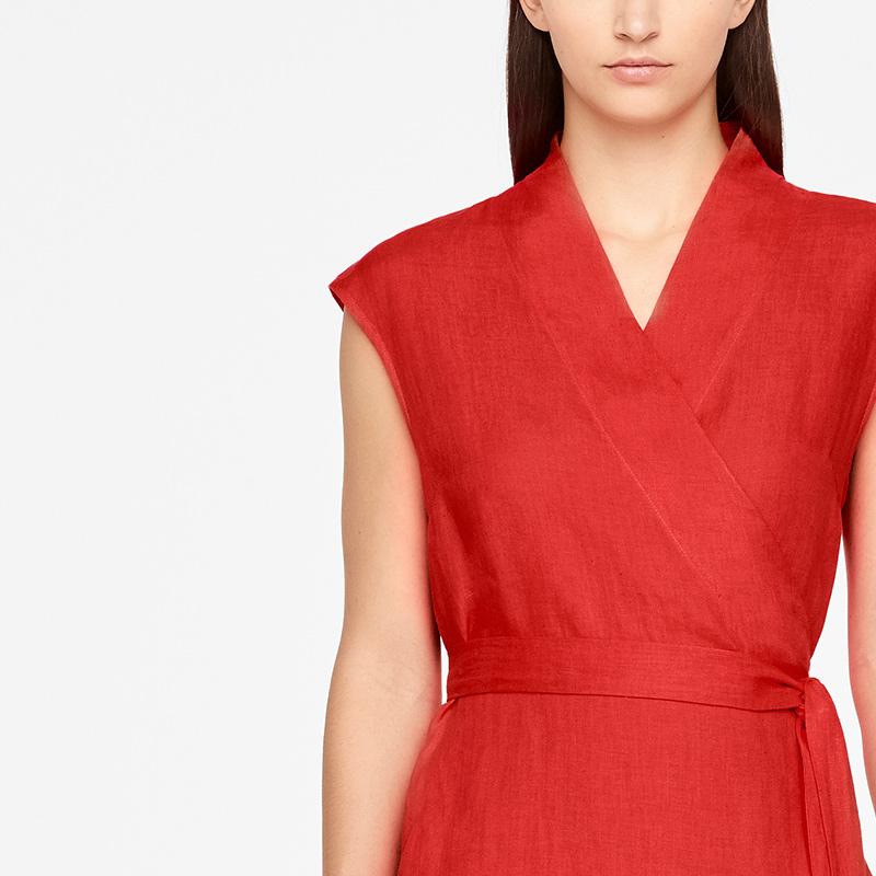 Sarah Pacini LINEN WRAP DRESS - MAXI Front