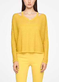 Sarah Pacini LINEN SWEATER - RELIEF Front