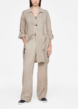 Sarah Pacini LINEN JACKET - PATCH POCKETS Front