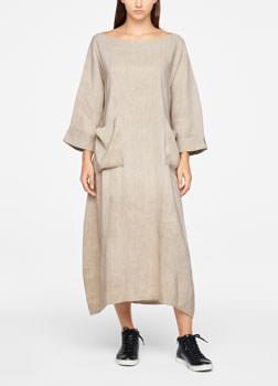 Sarah Pacini LINEN DRESS - MAXI Front