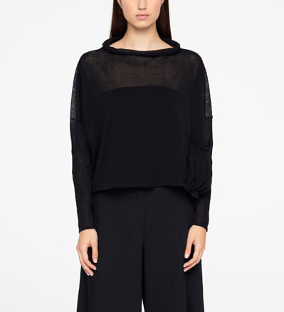 Sarah Pacini COTTON SWEATER - COWL NECK Front