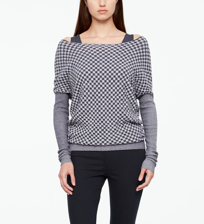Sarah Pacini LONG SWEATER - DAMIER Front