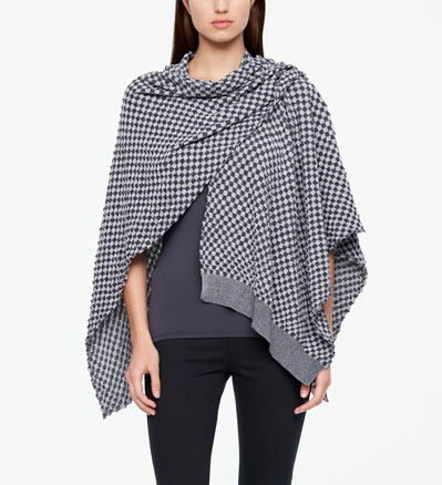 Sarah Pacini PONCHO - MAKO COTTON IN SCHACHBRETT OPTIK Vorne