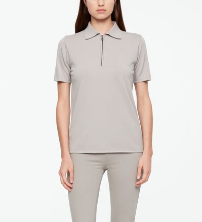 Sarah Pacini POLO SWEATER - ZIPPER Front
