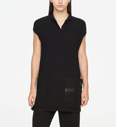 Sarah Pacini LONG SWEATER - ZIPPER DETAILS Front