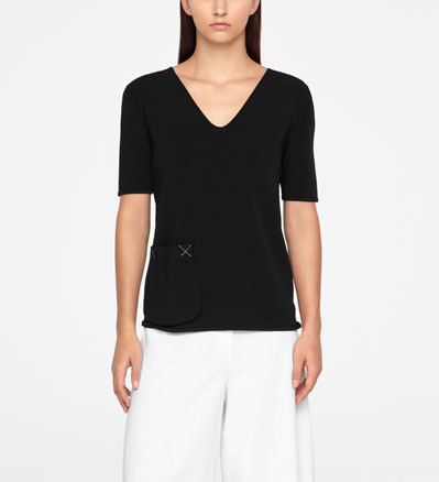 Sarah Pacini SWEATER - POUCH POCKET Front