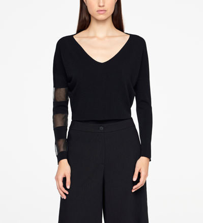 Sarah Pacini CROPPED SWEATER - V-NECK Front