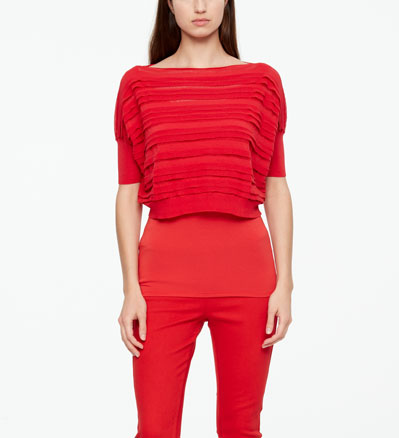 Sarah Pacini MAKO COTTON SWEATER - STRIPES Front