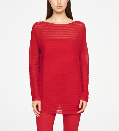 Sarah Pacini LONG LINEN SWEATER - RELIEF Front