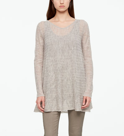 Sarah Pacini LONG LINEN SWEATER - STRIPED Front