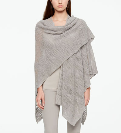 Sarah Pacini LINEN PONCHO Front