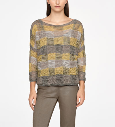 Sarah Pacini LINEN SWEATER - CHECKERED Front
