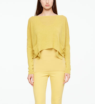 Sarah Pacini LINEN SWEATER - SLIT POCKETS Front