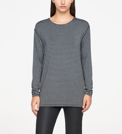 Sarah Pacini STRIPED TOP - FULL SLEEVES Front