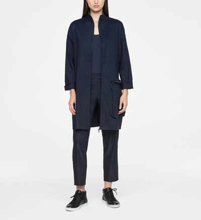 Sarah Pacini STRETCH LINEN COAT Front