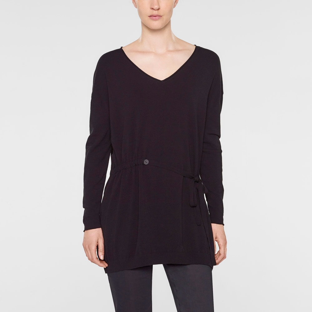 Sarah Pacini V-neck long sweater with soft belt Front
