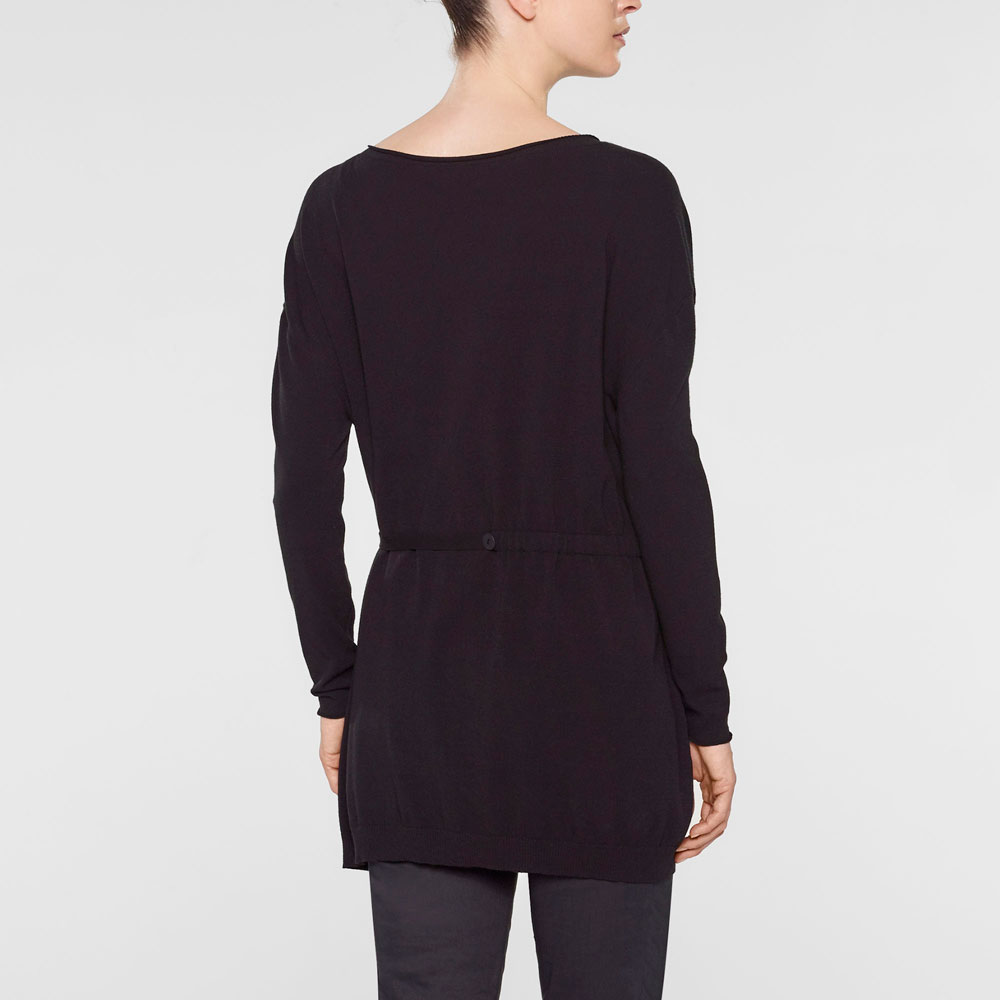 Sarah Pacini V-neck long sweater with soft belt Back view