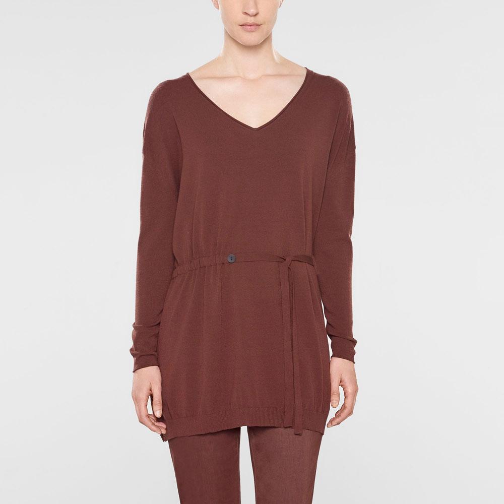 Sarah Pacini Langer sweater mit v-ausschnitt und weichem gürtel Vorne