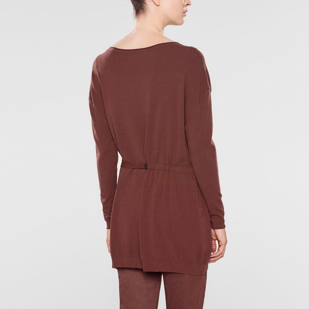 Sarah Pacini Langer sweater mit v-ausschnitt und weichem gürtel Rück