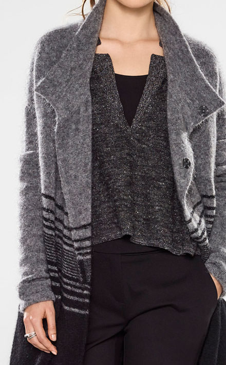 Sarah Pacini V-neck long sweater Look